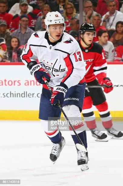 Jakub Vrana of the Washington Capitals skates against the New Jersey Devils during the game at Prudential Center on October 13 2017 in Newark New...