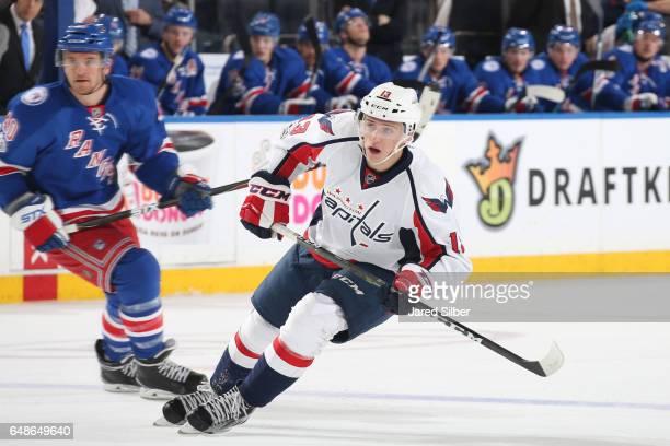 Jakub Vrana of the Washington Capitals skates against the New York Rangers at Madison Square Garden on February 28 2017 in New York City The...