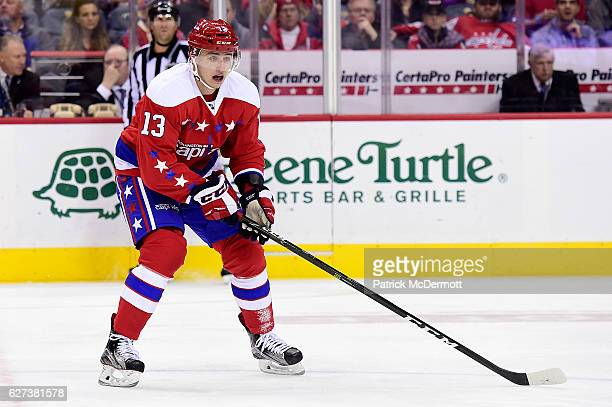 Jakub Vrana of the Washington Capitals skates in the third period during a NHL game against the New York Islanders at Verizon Center on December 1...