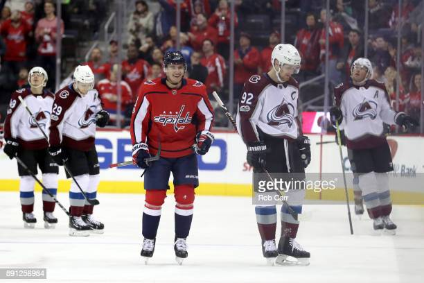 Jakub Vrana of the Washington Capitals skates off the ice after scoring a first period goal against the Colorado Avalanche at Capital One Arena on...
