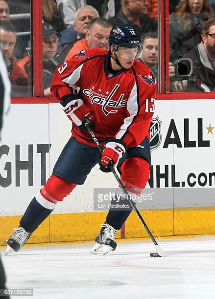 Jakub Vrana of the Washington Capitals skates the puck against the Philadelphia Flyers on December 21 2016 at the Wells Fargo Center in Philadelphia...
