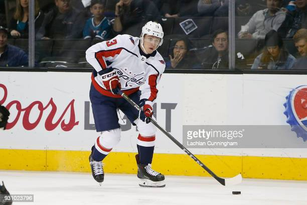 Jakub Vrana of the Washington Capitals skates towards goal in the first period against the San Jose Sharks at SAP Center on March 10 2018 in San Jose...
