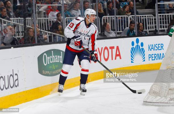 Jakub Vrana of the Washington Capitals skates with the puck against the San Jose Sharks at SAP Center on March 9 2017 in San Jose California