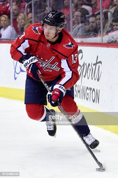 Jakub Vrana of the Washington Capitals skates with the puck in the first period against the Montreal Canadiens at Capital One Arena on January 19...