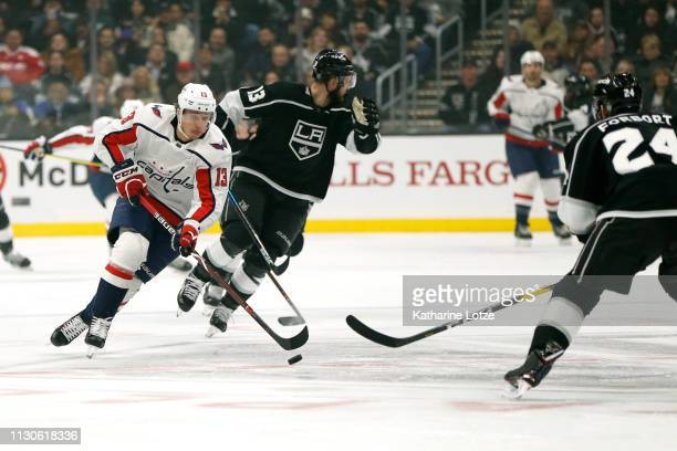 Jakub Vrana of the Washington Capitals takes the puck down the ice during the first period against the Los Angeles Kings at Staples Center on...