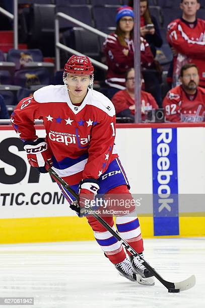 Jakub Vrana of the Washington Capitals warms up prior to the start of a NHL game against the New York Islanders at Verizon Center on December 1 2016...