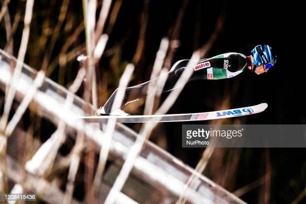 Jakub Wolny soars in the air during the first round of the Men Large Hill Individual HS130 of the FIS Ski Jumping World Cup in Lahti, Finland, on...