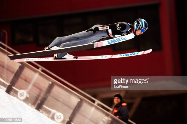 Jakub Wolny soars in the air during the men's large hill team competition HS130 of the FIS Ski Jumping World Cup in Lahti, Finland, on February 29,...