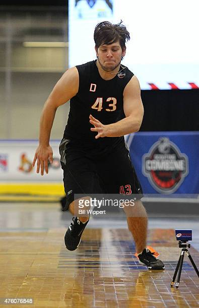Jakub Zboril performs an agility test during the NHL Combine at HarborCenter on June 6 2015 in Buffalo New York