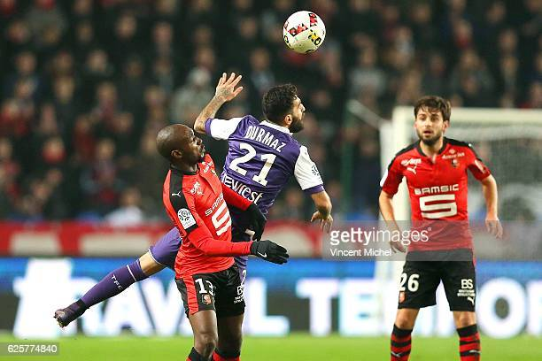 Jakup Durmaz of Toulouse and Giovanni Sio of Rennes during the French Ligue 1 match between Rennes and Toulouse at Roazhon Park on November 25, 2016...