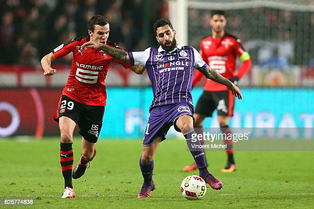 Jakup Durmaz of Toulouse and Romain Danze of Rennes during the French Ligue 1 match between Rennes and Toulouse at Roazhon Park on November 25, 2016...