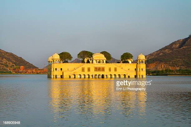 Jal Mahal taken at sunset, was built to be a pleasure palace for the royal family in 1799 and also used for duck hunting.Jaipur,India.