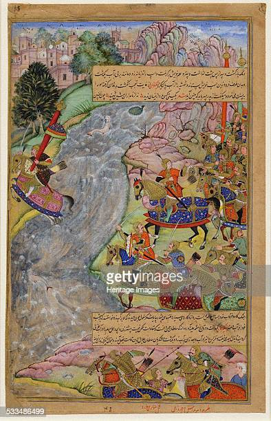 Jalal alDin KhwarazmShah crossing the rapid Indus river escaping Chinggis Khan and his army 15971600 Found in the collection of British Museum