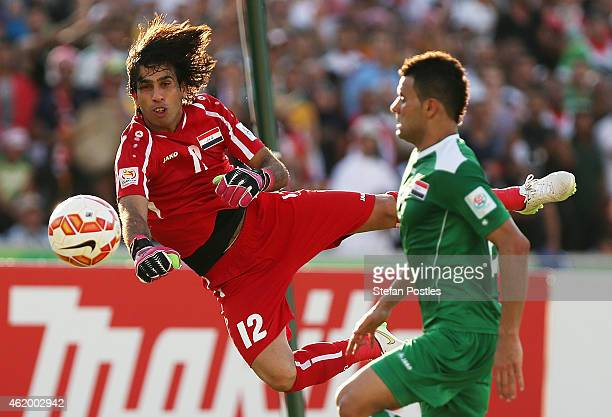 Jalal Hassan Hachim of Iraq stops a shot on goal during the 2015 Asian Cup match between Iran and Iraq at Canberra Stadium on January 23 2015 in...