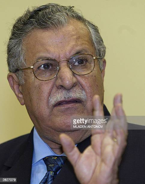 Jalal Talabani leader of the Patriotic Union of Kurdistan and member of the USbacked Iraqi Governing Council talks to the press in Moscow 22 December...