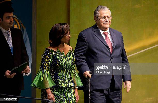 Jalal Talabani president of Iraq arrives to speak during the 65th annual United Nations General Assembly at the UN in New York US on Thursday Sept 23...