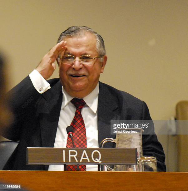 Jalal Talabani President of Iraq attends a high level meeting at the United Nations on the conditions in Iraq September 18 2006 in New York City