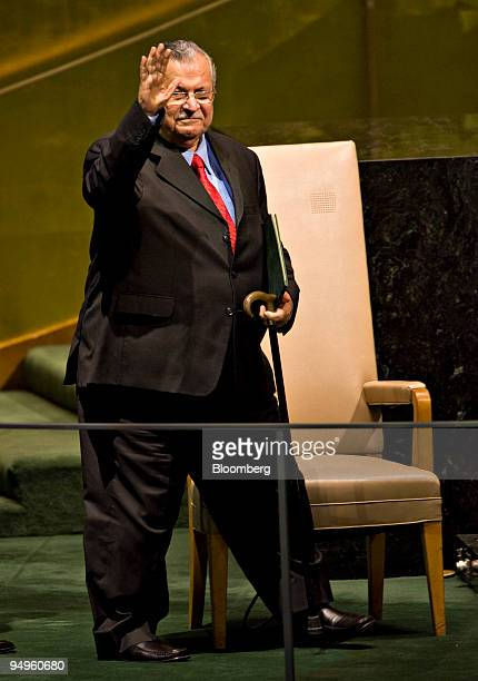 Jalal Talabani president of Iraq speaks at the 64th annual United Nations General Assembly in New York US on Thursday Sept 24 2009 The General Debate...