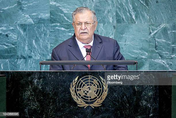 Jalal Talabani president of Iraq speaks during the 65th annual United Nations General Assembly at the UN in New York US on Thursday Sept 23 2010 The...