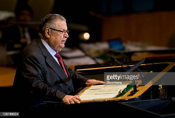Jalal Talabani president of Iraq speaks during the 66th annual United Nations General Assembly at the UN in New York US on Friday Sept 23 2011 The...