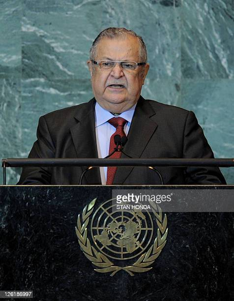 Jalal Talabani President of Iraq speaks during the United Nations General Assembly September 23 2011 at UN headquarters in New York AFP PHOTO/Stan...
