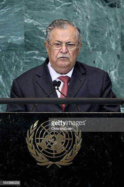 Jalal Talabani President of the Republic of Iraq addresses the 65th session of the General Assembly at the United Nations on September 23 2010 in New...