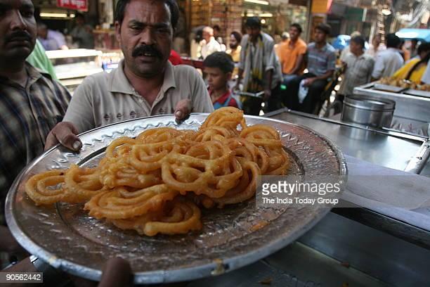 Jalebi of Old Famous Jalebi Wala shop at Chandni Chowk
