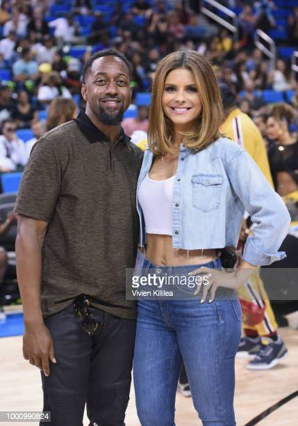 Jaleel White and Maria Menounos attend 50K Charity Challenge Celebrity Basketball Game at UCLA's Pauley Pavilion on July 17 2018 in Westwood...