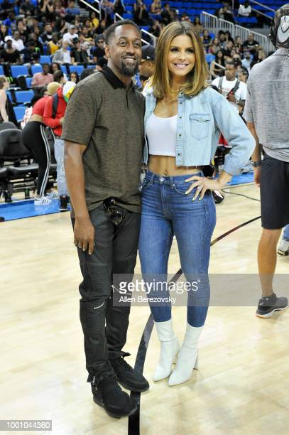Jaleel White and Maria Menounos attend Monster Energy Outbreak $50K Charity Challenge celebrity basketball game at UCLA on July 17 2018 in Los...