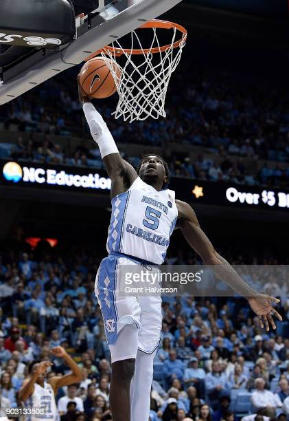 Jalek Felton of the North Carolina Tar Heels dunks against the Boston College Eagles during their game at the Dean Smith Center on January 9 2018 in...