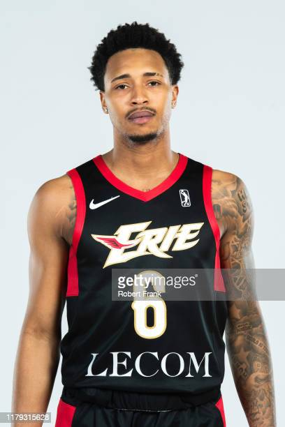 Jalen Adams of the Erie BayHawks poses for a head shot during G League media day at LECOM Medical Fitness & Wellness Center in Erie, Pennsylvania....