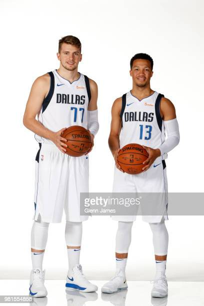 Jalen Brunson and Luka Doncic pose for a portrait at the Post NBA Draft press conference on June 22 2018 at the American Airlines Center in Dallas...