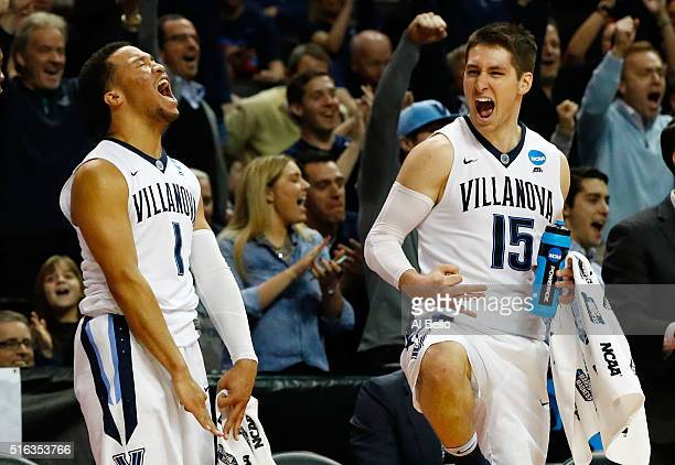 Jalen Brunson and Ryan Arcidiacono of the Villanova Wildcats celebrate defeating UNC Asheville Bulldogs 86 to 56 during the first round of the 2016...