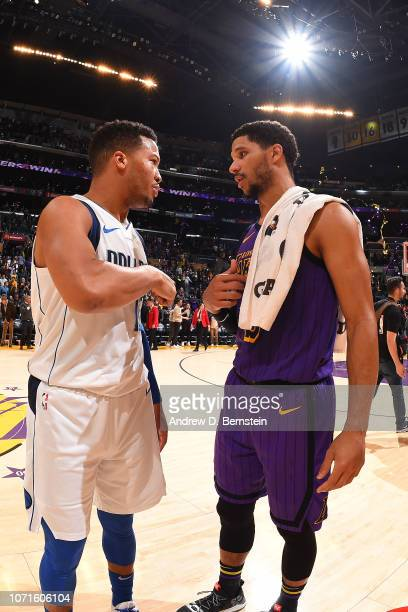 Jalen Brunson of the Dallas Mavericks and Josh Hart of the Los Angeles Lakers chat after the game on November 30 2018 at STAPLES Center in Los...