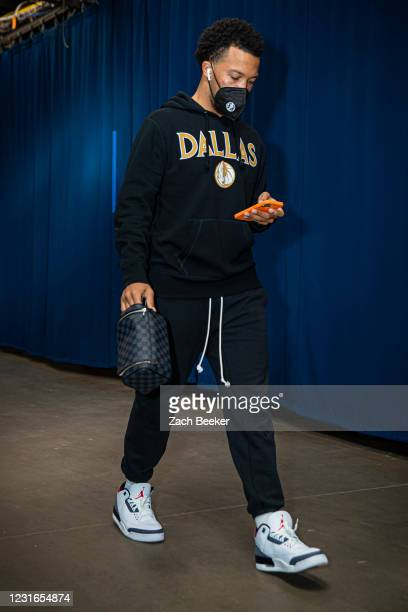 Jalen Brunson of the Dallas Mavericks arrives to the arena before the game against the Oklahoma City Thunder on March 11, 2021 at Chesapeake Energy...
