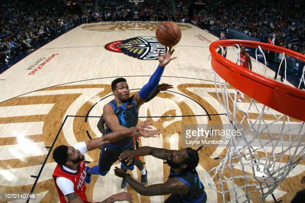 Jalen Brunson of the Dallas Mavericks drives to the basket during the game against the New Orleans Pelicans on December 5 2018 at the Smoothie King...
