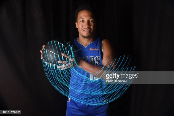 Jalen Brunson of the Dallas Mavericks poses for a portrait during the 2018 NBA Rookie Photo Shoot on August 12 2018 at the Madison Square Garden...