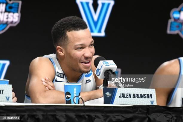 Jalen Brunson of the Villanova Wildcats addresses the media after the 2018 NCAA Men's Basketball Tournament East Regional against the West Virginia...