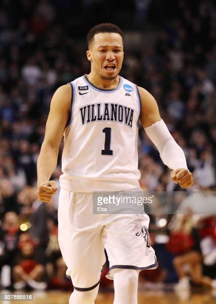 Jalen Brunson of the Villanova Wildcats celebrates after his team defeated the Texas Tech Red Raiders in the 2018 NCAA Men's Basketball Tournament...