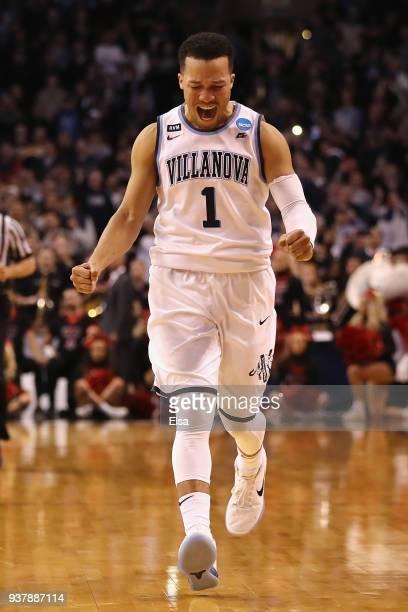 Jalen Brunson of the Villanova Wildcats celebrates defeating the Texas Tech Red Raiders 7159 in the 2018 NCAA Men's Basketball Tournament East...