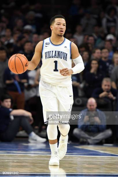 Jalen Brunson of the Villanova Wildcats dribbles up court during a college basketball game against the Xavier Musketeers at Wells Fargo Arena on...