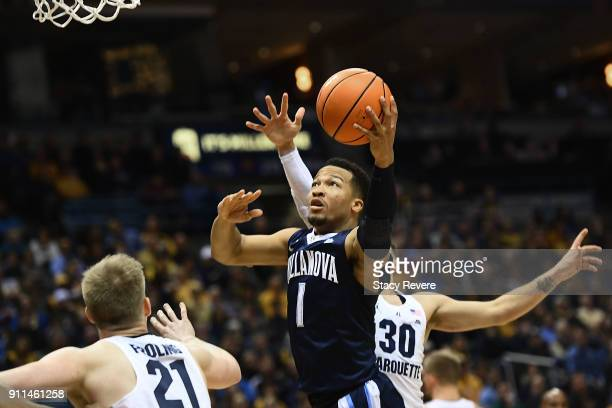 Jalen Brunson of the Villanova Wildcats drives to the basket during the first half against the Marquette Golden Eagles at the BMO Harris Bradley...
