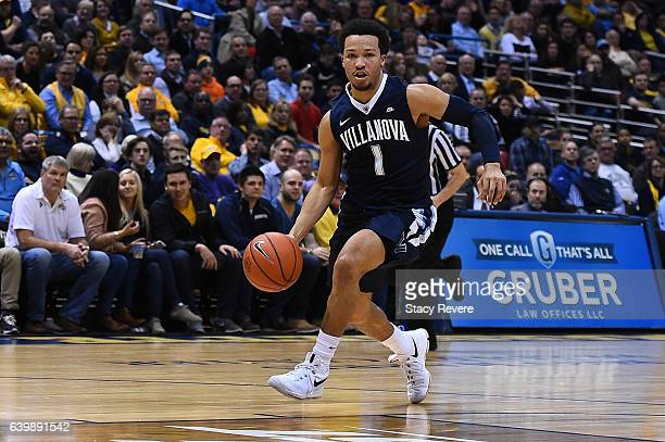 Jalen Brunson of the Villanova Wildcats handles the ball during a game against the Marquette Golden Eagles at the BMO Harris Bradley Center on...
