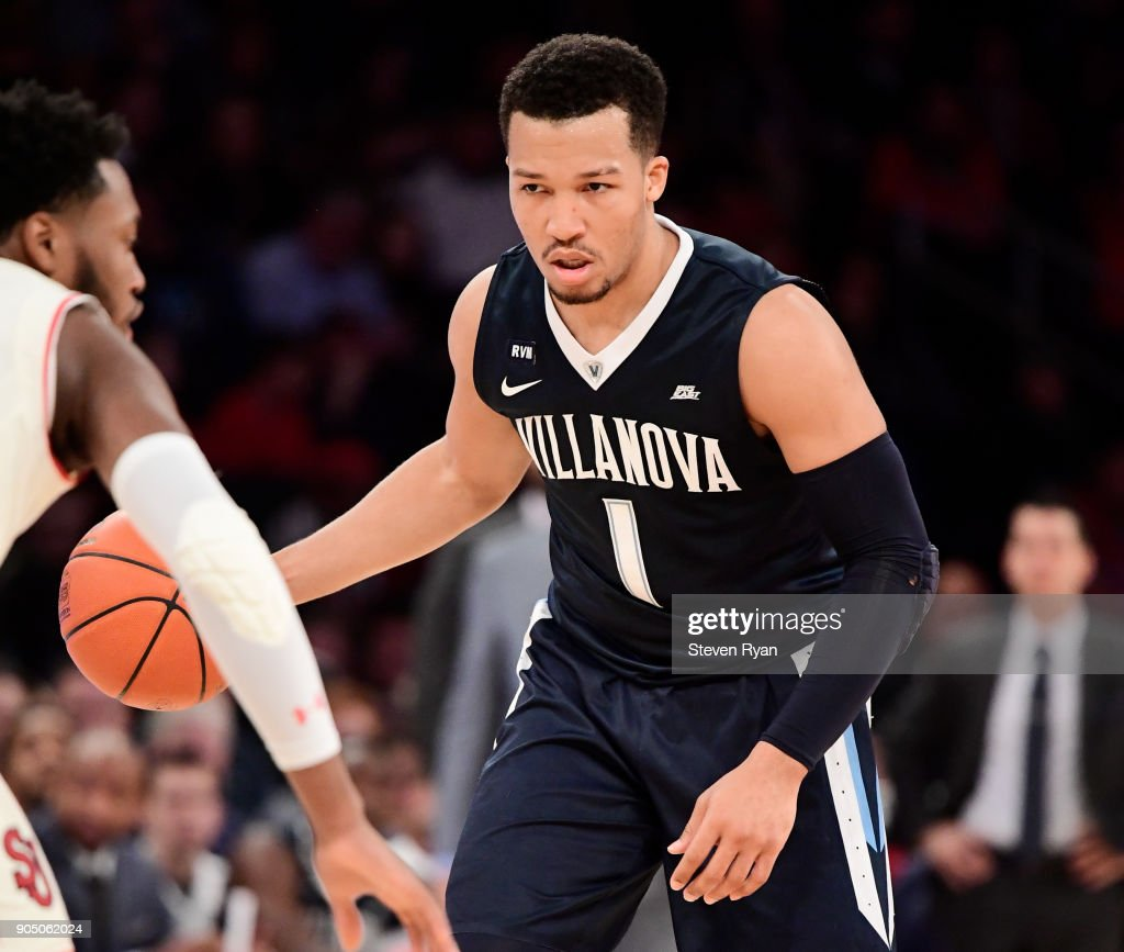 Jalen Brunson #1 of the Villanova Wildcats in action against the St. John's Red Storm during an NCAA men's basketball game at Madison Square Garden on January 13, 2018 in New York City.