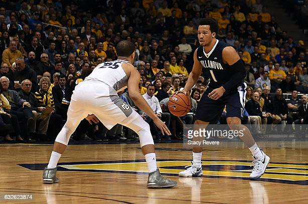 Jalen Brunson of the Villanova Wildcats is defended by Haanif Cheatham of the Marquette Golden Eagles during the first half of a game at BMO Harris...