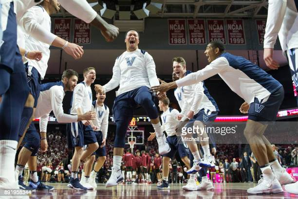 Jalen Brunson of the Villanova Wildcats prior to the game against the Temple Owls at the Liacouras Center on December 13 2017 in Philadelphia...
