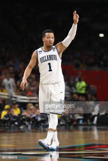 Jalen Brunson of the Villanova Wildcats reacts in the first half against the Michigan Wolverines during the 2018 NCAA Men's Final Four National...