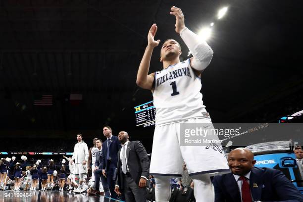 Jalen Brunson of the Villanova Wildcats reacts on the bench with his team in the second half against the Michigan Wolverines during the 2018 NCAA...