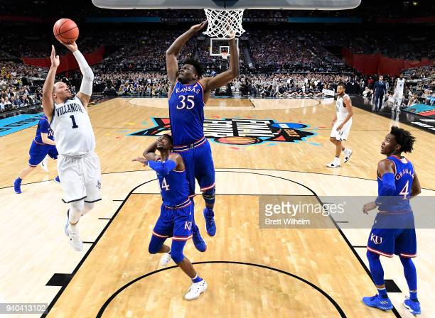 Jalen Brunson of the Villanova Wildcats shoots the ball akk during the first half in the 2018 NCAA Photos via Getty Images Men's Final Four semifinal...