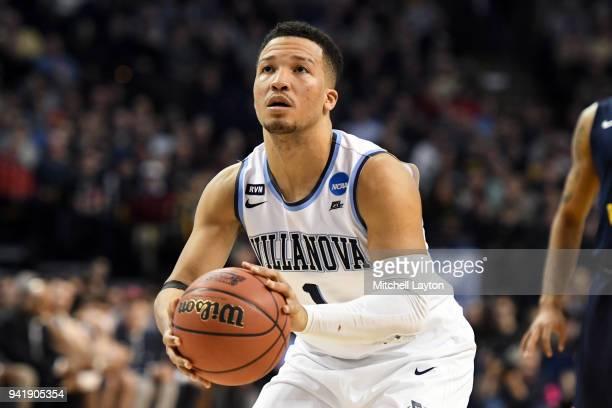 Jalen Brunson of the Villanova Wildcats takes a foul shot during the 2018 NCAA Men's Basketball Tournament East Regional against the West Virginia...